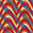 Retro 3D Bulging Red And Blue Waves Diagonally Cut.Abstract Layered Pattern. Bright Colored Background With Realistic Shadow And Thee Dimentional Effect