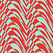 Retro 3D Bulging Red And Green Waves Diagonally Cut.Abstract Layered Pattern. Bright Colored Background With Realistic Shadow And Thee Dimentional Effect