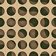 Retro 3D Circles And Green Waves Under.Abstract Layered Pattern. Bright Colored Background With Realistic Shadow And Thee Dimentional Effect