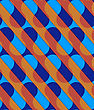 Retro 3D Diagonal Cut Blue And Orange Waves.Abstract Layered Pattern. Bright Colored Background With Realistic Shadow And Thee Dimensional Effect