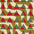 Retro 3D Green And Brown Diagonal Waves With Triangles.Abstract Layered Pattern. Bright Colored Background With Realistic Shadow And Thee Dimentional Effect