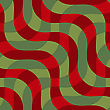 Retro 3D Green And Red Intersecting Waves.Abstract Layered Pattern. Bright Colored Background With Realistic Shadow And Thee Dimentional Effect