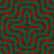 Retro 3D Green And Red Overlapping Waves.Abstract Layered Pattern. Bright Colored Background With Realistic Shadow And Thee Dimentional Effect