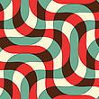 Retro 3D Green Red And Yellow Intersecting Waves.Abstract Layered Pattern. Bright Colored Background With Realistic Shadow And Thee Dimentional Effect
