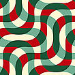 Retro 3D Green Red Yellow Overlapping Waves With Texture.Abstract Layered Pattern. Bright Colored Background With Realistic Shadow And Thee Dimentional Effect