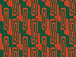 Retro 3D Green And Red Zigzag Cut With Rectangles.Abstract Layered Pattern. Bright Colored Background With Realistic Shadow And Thee Dimensional Effect