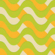 Retro 3D Green Waves With Orange Stripes.Abstract Layered Pattern. Bright Colored Background With Realistic Shadow And Thee Dimentional Effect