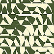 Retro 3D Green And Yellow Cut Out Waves With Triangles.Abstract Layered Pattern. Bright Colored Background With Realistic Shadow And Thee Dimentional Effect