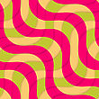 Retro 3D Magenta Green Overlapping Waves.Abstract Layered Pattern. Bright Colored Background With Realistic Shadow And Thee Dimentional Effect