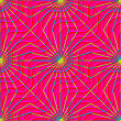Retro 3D Magenta Waves And Yellow Rays.Abstract Layered Pattern. Bright Colored Background With Realistic Shadow And Thee Dimentional Effect