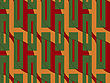 Retro 3D Orange And Red Wavy With Green Rectangles.Abstract Layered Pattern. Bright Colored Background With Realistic Shadow And Thee Dimensional Effect