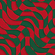 Retro 3D Red Green Overlaying Waves.Abstract Layered Pattern. Bright Colored Background With Realistic Shadow And Thee Dimentional Effect