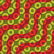 Retro 3D Red Green Waves And Donates.Abstract Layered Pattern. Bright Colored Background With Realistic Shadow And Thee Dimentional Effect
