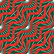 Retro 3D Red Green Waves And Rays.Abstract Layered Pattern. Bright Colored Background With Realistic Shadow And Thee Dimentional Effect