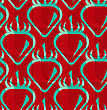 Retro 3D Red And Green Wavy Cut Strawberry.Abstract Layered Pattern. Bright Colored Background With Realistic Shadow And Thee Dimensional Effect