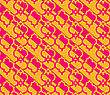 Retro 3D Yellow And Pink Marrakech.Abstract Layered Pattern. Bright Colored Background With Realistic Shadow And Thee Dimensional Effect