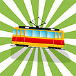 Retro Art Drawing Of A Imaginary Tramcar Car And Shadow Over A Stripped Background. stock illustration