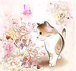 Retro Birthday Greeting Card With Little Tabby Kitten ,flowers And Butterfly . Watercolor Style.