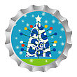 Retro Bottle Cap With Christmas Tree Ans Snowflakes stock vector