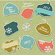 Retro Christmas Stickers In Form Of Speech Bubbles