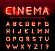 Retro Cinema Font. Vector Illustration On Black Background. Can Be Used For Christmas, Happy New Year, Happy Birthday And More