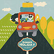 Retro Couple Traveling By Car, Vector Illustration