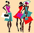 Retro Fashion Women With Bags. Vector Illustration