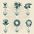 Retro Flowers Collection, Vector Isolated Objects For Easy Design