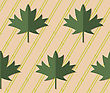 Retro Fold Deep Green Maple Leaves On Diagonal Dots.Abstract Geometrical Ornament. Pattern With Effect Of Folded Paper With Realistic Shadow. Vintage Colored Simple Shapes On Textured Background