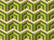 Retro Fold Green Striped Coroners.Abstract Geometrical Ornament. Pattern With Effect Of Folded Paper With Realistic Shadow. Vintage Colored Simple Shapes On Textured Background