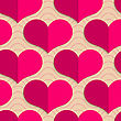 Retro Fold Pink Hearts On Waves.Abstract Geometrical Ornament. Pattern With Effect Of Folded Paper With Realistic Shadow. Vintage Colored Simple Shapes On Textured Background