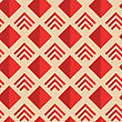 Retro Fold Red Diamonds And Stripes.Abstract Geometrical Ornament. Pattern With Effect Of Folded Paper With Realistic Shadow. Vintage Colored Simple Shapes On Textured Background