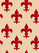 Retro Fold Red Fleur-de-lis.Abstract Geometrical Ornament. Pattern With Effect Of Folded Paper With Realistic Shadow. Vintage Colored Simple Shapes On Textured Background