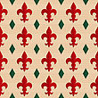 Retro Fold Red Fleur-de-lis And Green Diamonds.Abstract Geometrical Ornament. Pattern With Effect Of Folded Paper With Realistic Shadow. Vintage Colored Simple Shapes On Textured Background