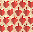 Retro Fold Red Strawberry.Abstract Geometrical Ornament. Pattern With Effect Of Folded Paper With Realistic Shadow. Vintage Colored Simple Shapes On Textured Background