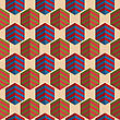Retro Fold Striped Hexagons.Abstract Geometrical Ornament. Pattern With Effect Of Folded Paper With Realistic Shadow. Vintage Colored Simple Shapes On Textured Background