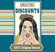 Retro Illustration Of A Beautiful Woman And Amazing Discounts Message, Vector Format stock illustration