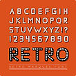 Retro Marquee Font. Vector Illustration On Red Background