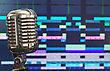 Retro Microphone Over Recording Software Background stock image