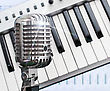 Retro Microphone Over Piano And Recording Software Background stock photography