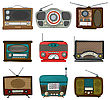 Retro Radio Icon Set Over White Background
