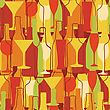 Retro Seamless Background With Wine Bottles And Glasses