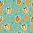 Retro Seamless Pattern With Gift Boxes, Vector Format