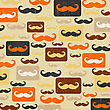 Retro Seamless Pattern With Mustache, Vector Illustration stock illustration