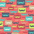 Retro Seamless Pattern With Mustache, Vector Illustration stock vector