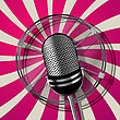 Retro Style Microphone Illustration, Graphic Art