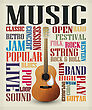 Retro Style Poster With Classic Guitar, Music Theme