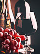 Retro Style Wine Still Life With Grapes And Beverages On The Desk stock image