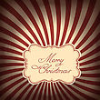 Retro Styled Christmas Card With Sunburst Background. Vector Illustration, EPS10