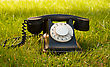 Retro Styled Rotary Telephone In The Grass stock photo